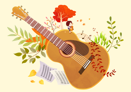 Autumn object illustration - guitar and plants
