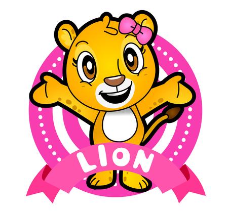 Vector illustration of Animals set Cartoon isolated on white background. Lion Illustration