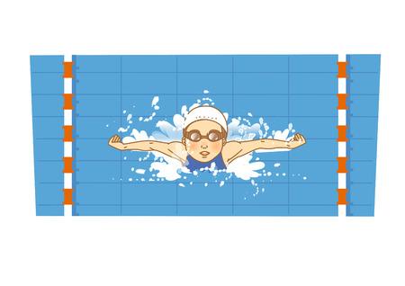 Schwimmen Sportler Zeichentrickfigur Standard-Bild - 94109072