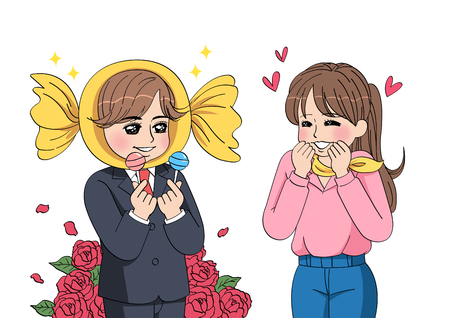 cartoon for special day of couple Çizim