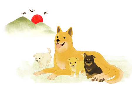 Vector of puppy, a litter of puppies, 2018
