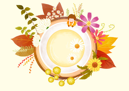 Autumn object illustration - abstract plants vector