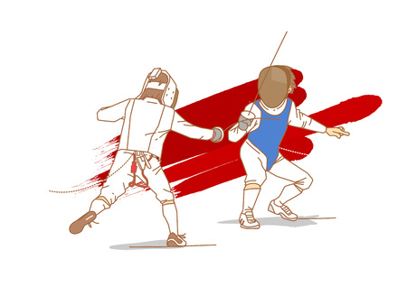 Fencing athlete cartoon character