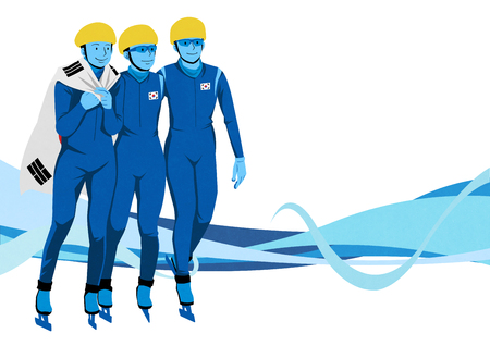 illustration of member of the national team for winter sports event, medalists and athlete