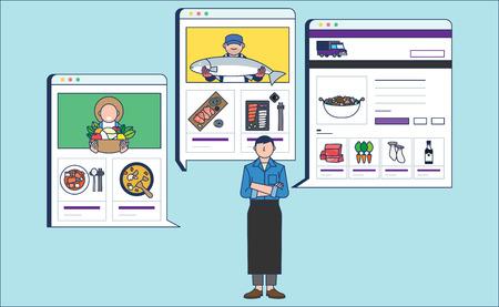 Mobile Shopping, online business conceptual flat style illustration 007 Illustration