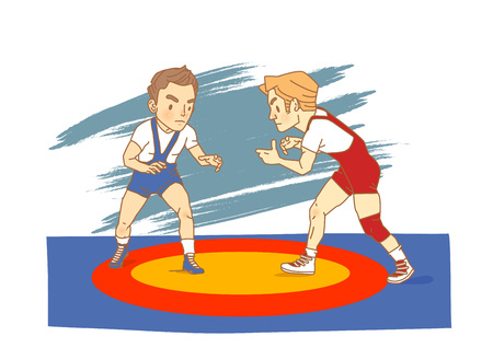 Wrestling athlete cartoon character