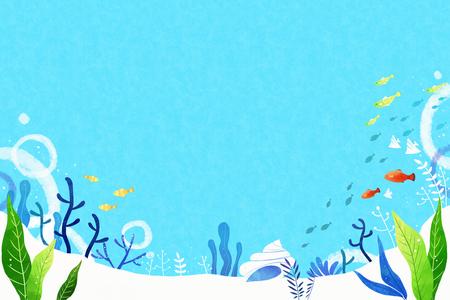 monde sous-marin mer bleue paysage fond illustration vectorielle, ossatures