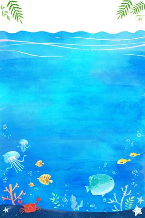 undersea world- blue sea landscape background vector illustration, frame design 向量圖像