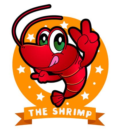 Vector illustration of Animals set Cartoon isolated on white background. Shrimp