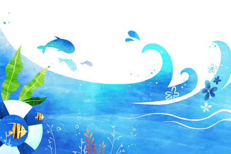 undersea world- blue sea landscape background vector illustration, frame design Illusztráció
