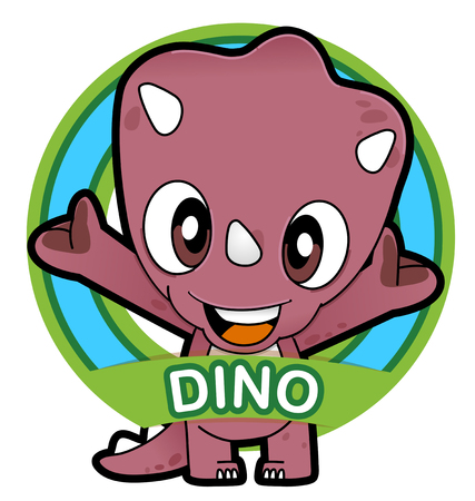 Vector illustration of Animals set Cartoon isolated on white background. Dinosaur  イラスト・ベクター素材
