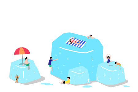 Vector illustration of people on huge ice cubes during summer.