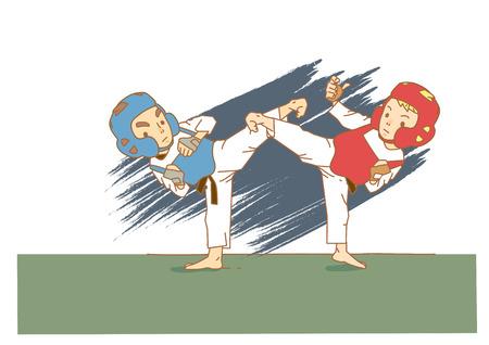 Taekwondo athlete cartoon character