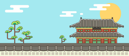 Korean traditional pattern background strong Korean atmosphere illustration. 006