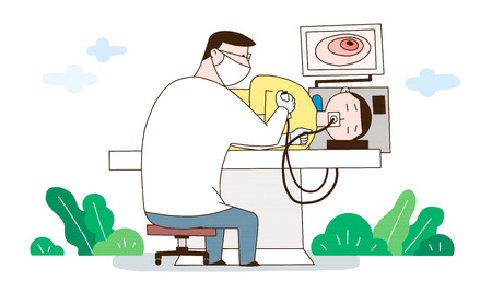 A medical treatment to a healthy society, a doctor use an endoscope to examine internal organs Illustration