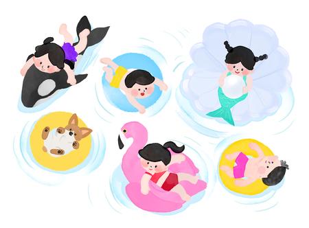 Ilustracja wektorowa latem dla dzieci, pływające rurki do zabawy w wodzie z psem i delfinem.