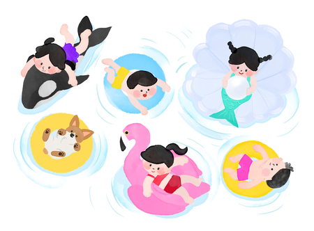 Vector illustration- children's summer, floating tubes for water play with dog and dolphin. Çizim