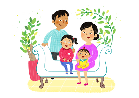Vector- a harmonious family, father watching wife and daughters. 003