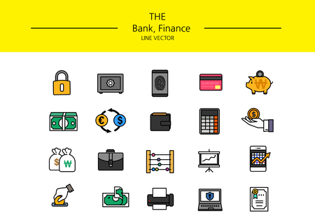 Line set on white background with bank and finance icons.