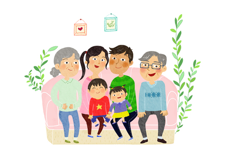 Vector- a harmonious family, extended family. with grandparents