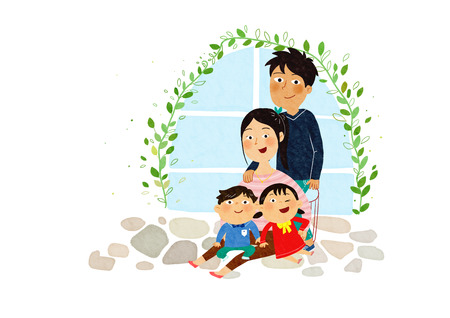 Vector- a harmonious family, little girl and son are sitting on their moms leg. father behind standing them. 004