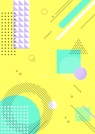 Colorful abstract background - Geometric pattern with yellow background Vector illustration. Ilustração