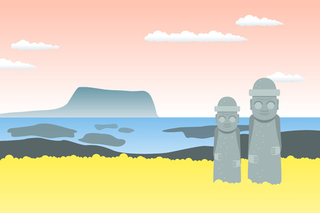 Flat design illustration. Travel to South Korea. Jeju Island.