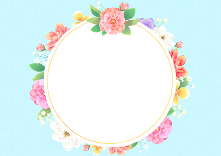 Vector - Floral frame vector isolated on white background. Blank space for your text.