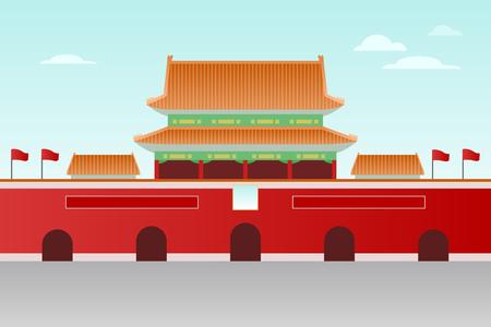 Flat design illustration. Travel to South China. Tiananmen.