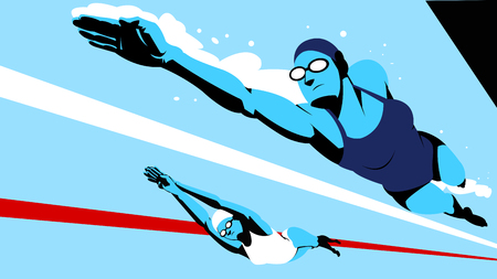Vector - Dynamic sports, swimming 012.