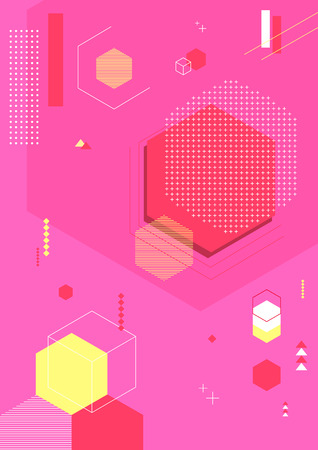 Colorful abstract background - Geometric pattern with pink background Vector illustration. 007.