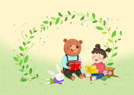 Animal friends - a little girl reading book with a bear. 001.