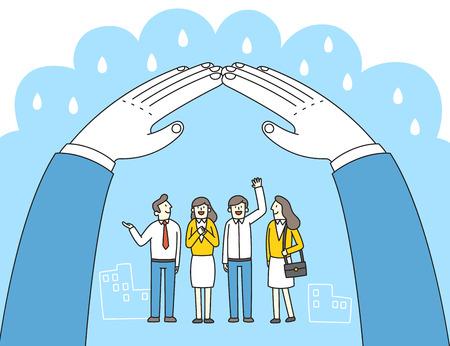 Ilustración de vector de concepto de liderazgo. A la reconciliación y la unidad para el éxito en los negocios.