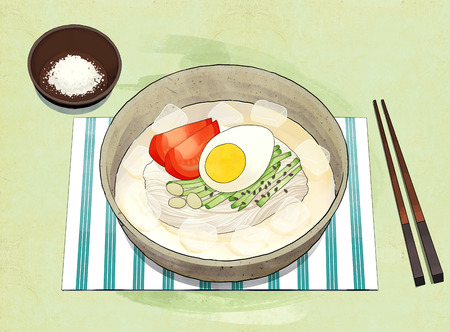 Korean food illustration. Bibimbap, Bulgogi, Korean cold noodles, Noodles in Cold Soybean Soup and so on. 向量圖像