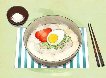 Korean food illustration. Bibimbap, Bulgogi, Korean cold noodles, Noodles in Cold Soybean Soup and so on. Illustration