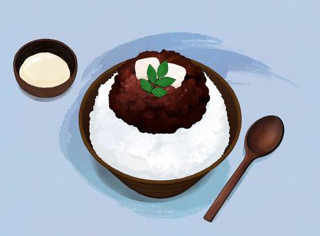Korean food illustration. Bibimbap, Bulgogi, Korean cold noodles, Noodles in Cold Soybean Soup and so on. Ilustração