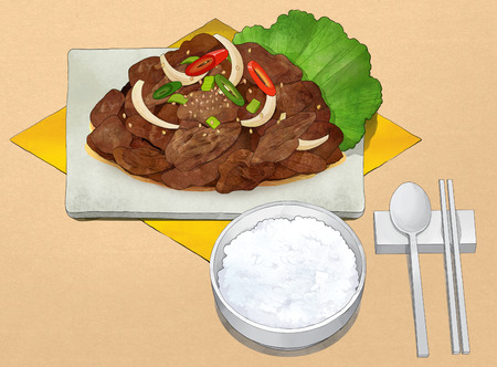 Korean food illustration.