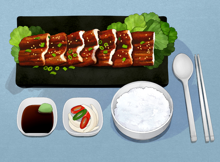 Korean food set illustration Illustration