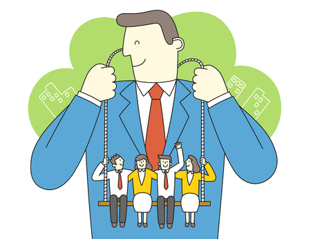 Leadership concept vector illustration. To reconciliation and unity for success in business.
