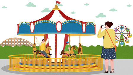 Vector illustration of children and their parent having fun in an amusement park. 017