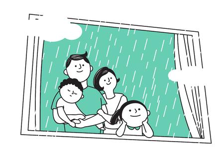 Illustration vectorielle de famille heureuse, passer du temps les uns les autres. 006 Vecteurs
