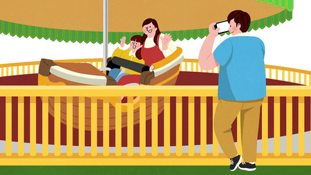 Vector illustration of children and their parent having fun in an amusement park. 014