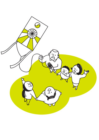 Vector illustration of happy family spending time each other. 018