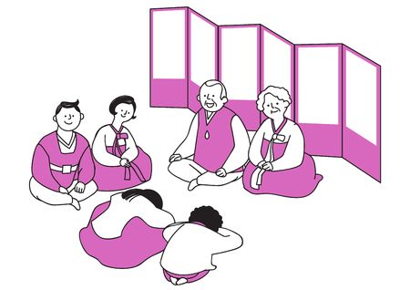 Vector illustration of happy family spending time each other. 015