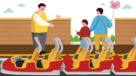 Vector illustration of children and their parent having fun in an amusement park. 002
