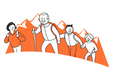 Vector illustration of happy family spending time each other. 014 Ilustração