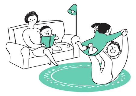 Vector illustration of happy family spending time each other. 011 Vectores