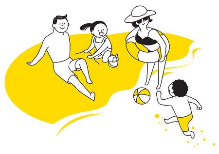 Vector illustration of happy family spending time each other. 008 Illustration