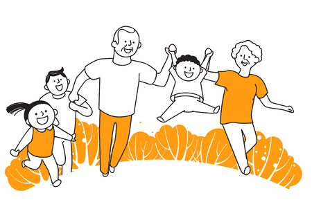 Vector illustration of happy family spending time each other. 013