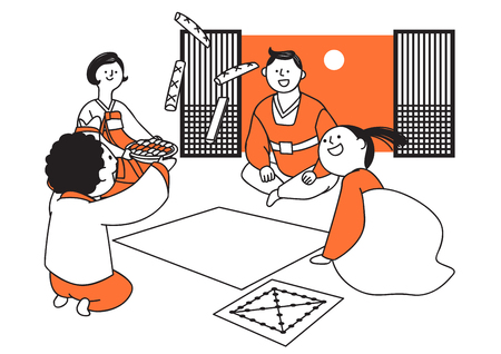 Vector illustration of happy family spending time each other. 009 Illustration